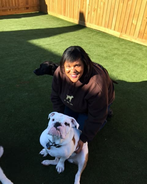 Employee with a bulldog